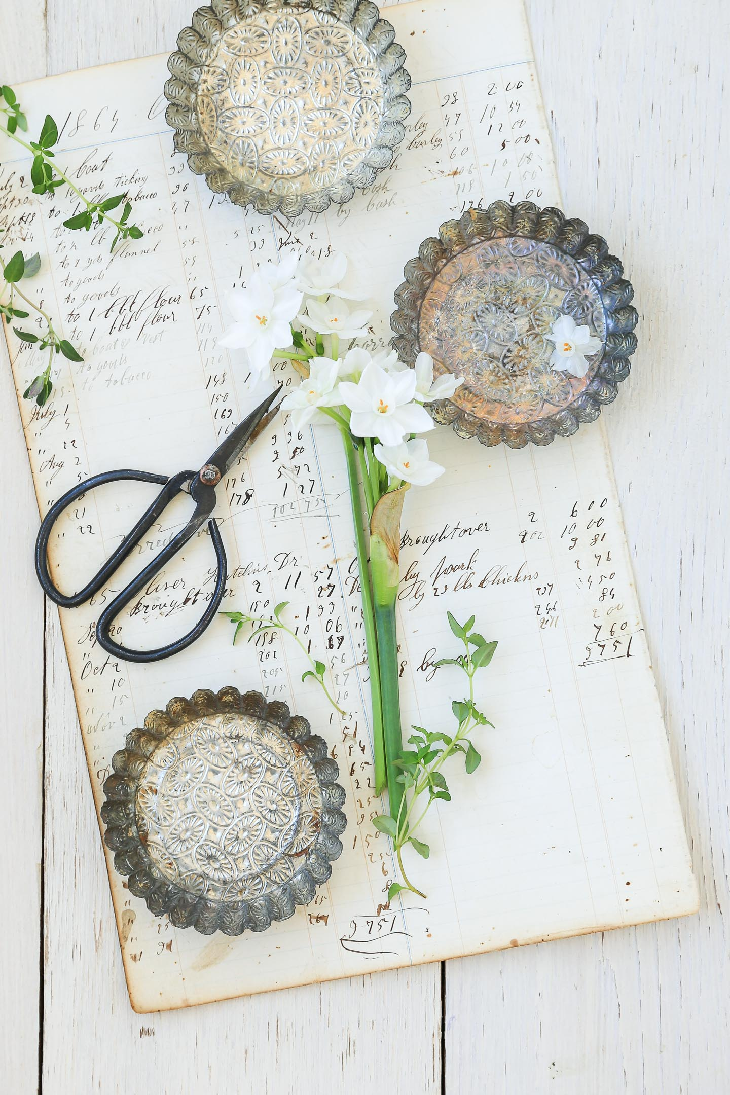Embossed tart tins on antique paper with French writing, and some paperwhites.