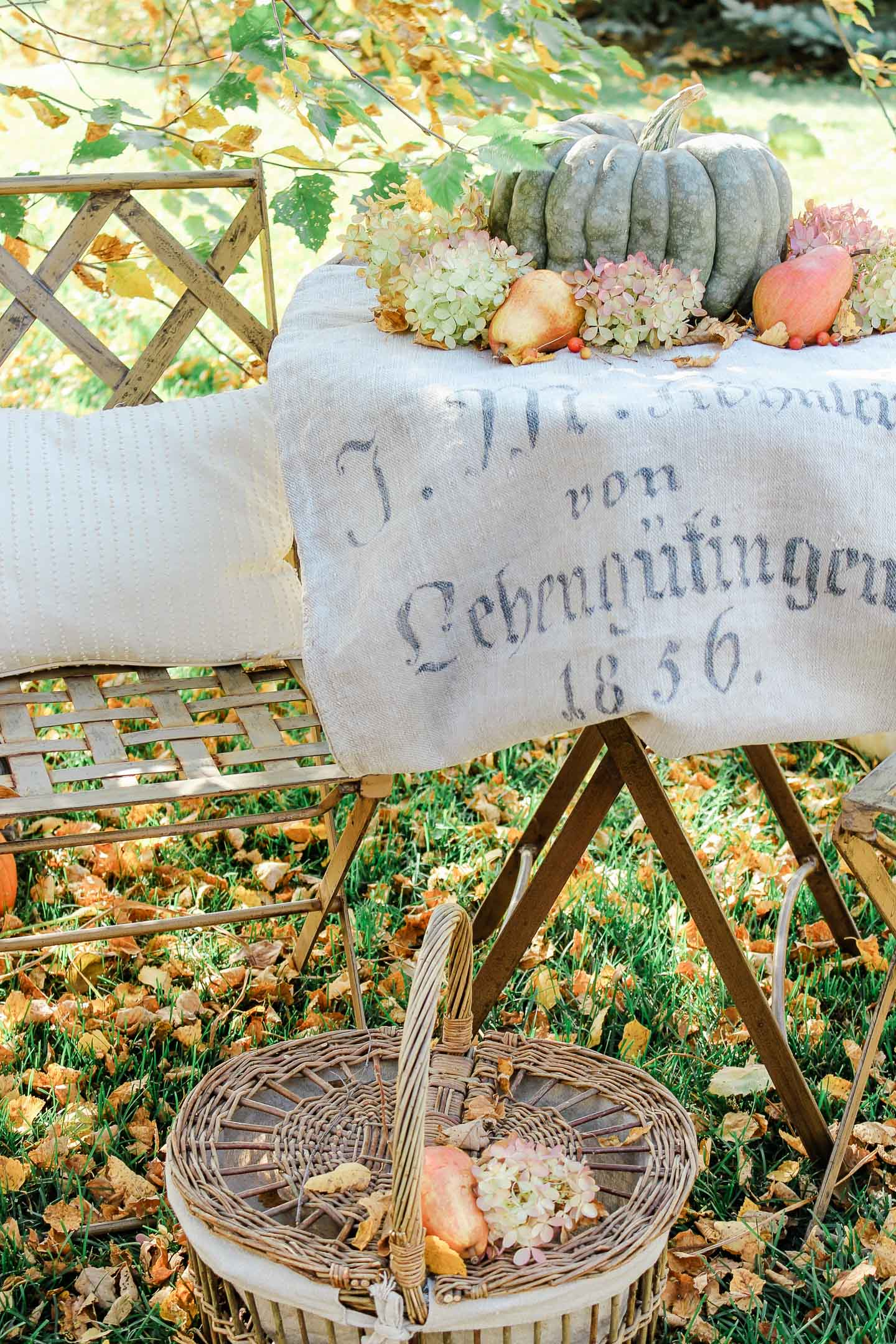 An outdoor table topped with a German grain sack, pumpkin, pears, and hydrangeas.