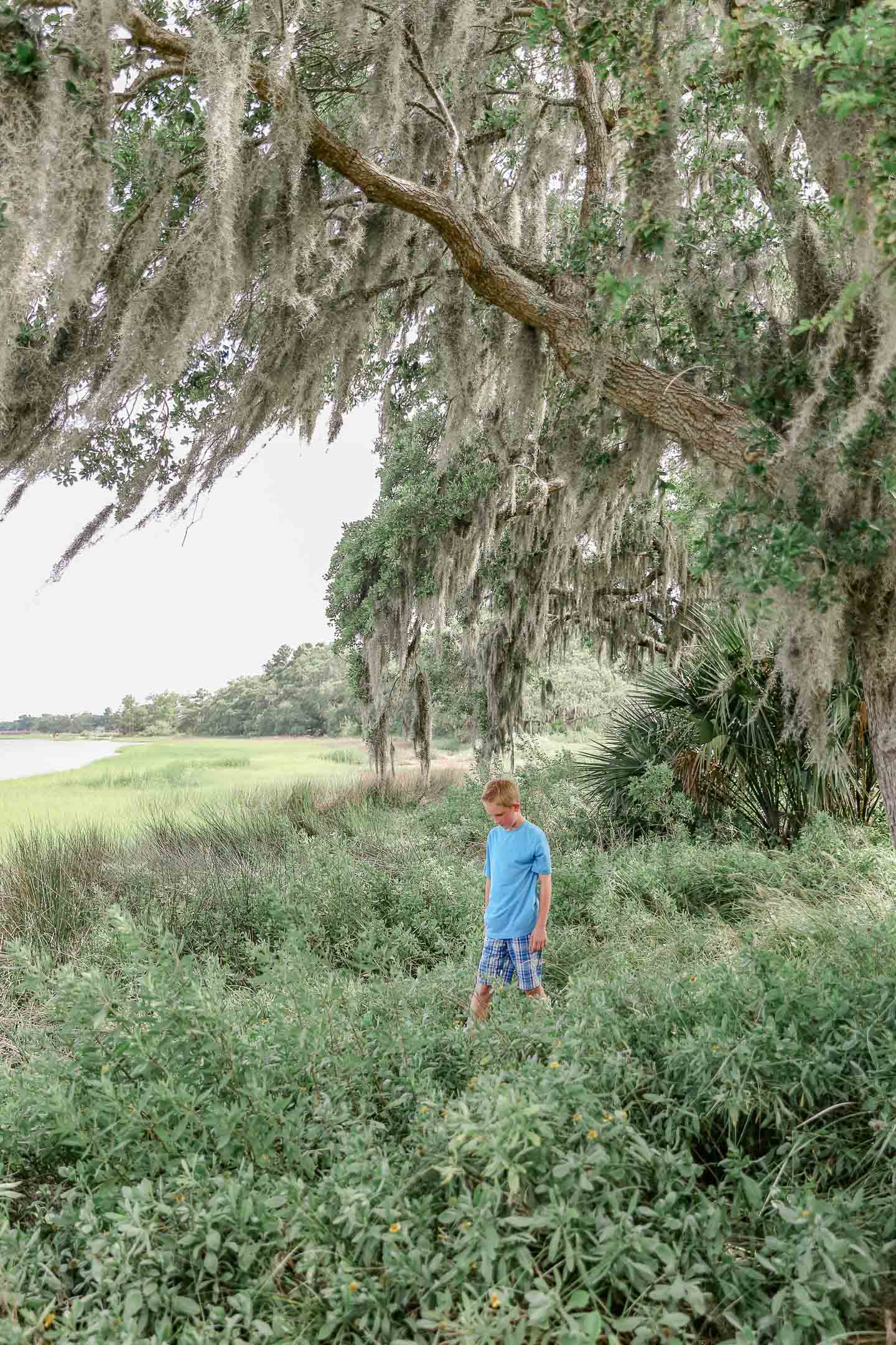 A boy under a tree that's draped with Spanish moss.